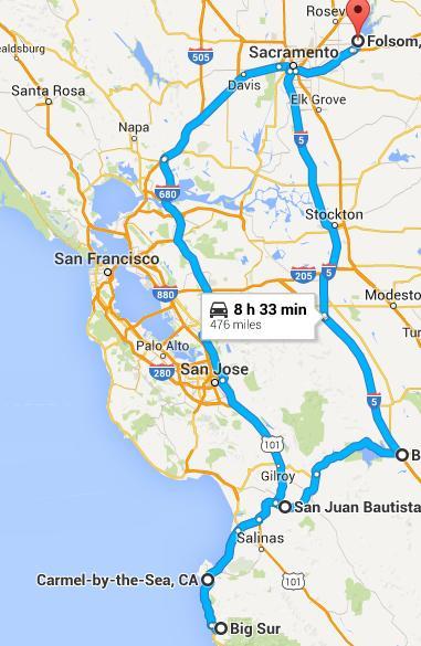 Folsom-Carmel trip map