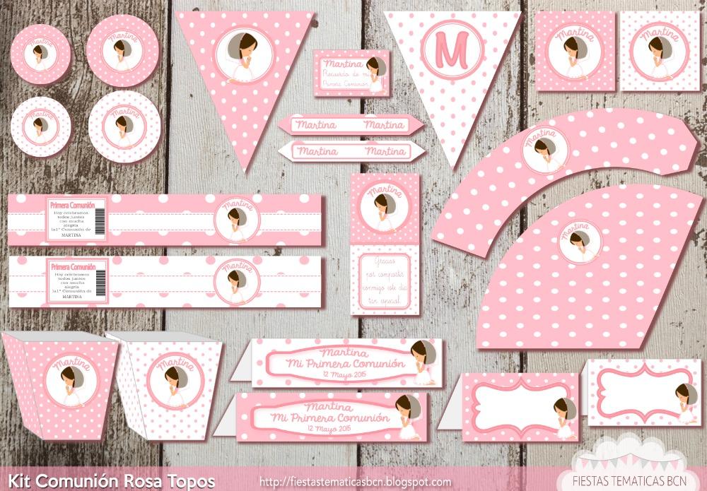 Kit comunión niña rosa topos