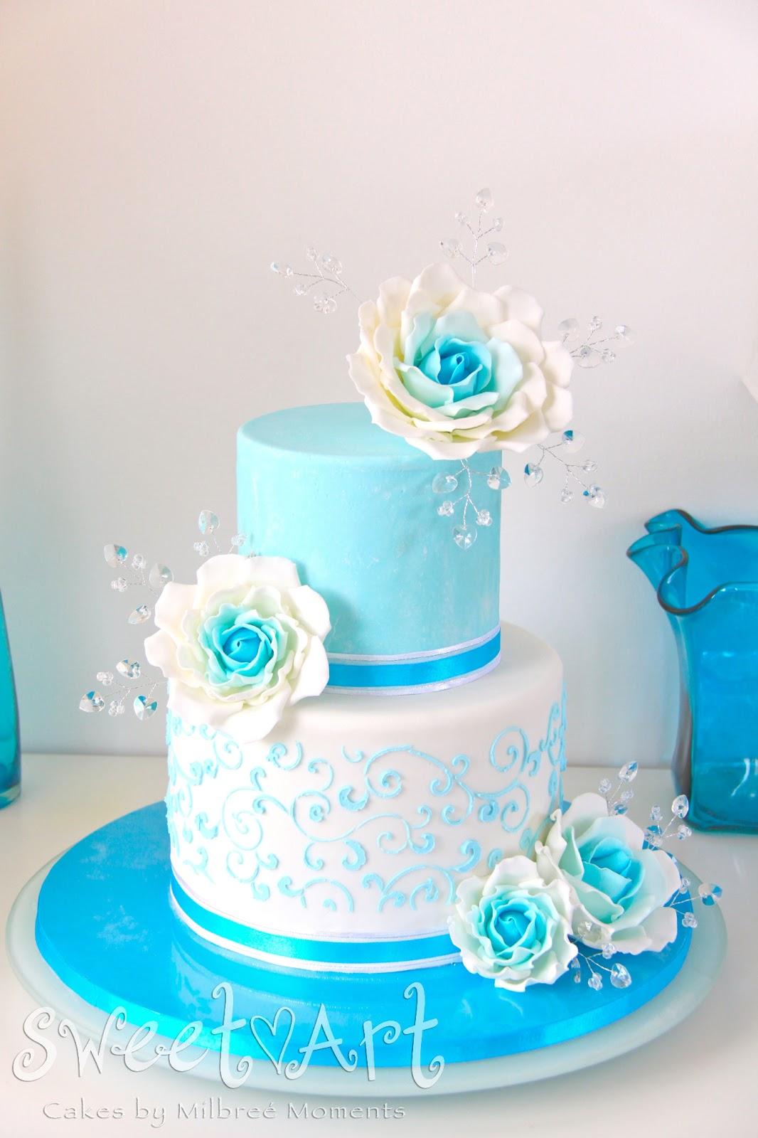 Ocean Blue Wedding Cake Wedding Dresses Dressesss