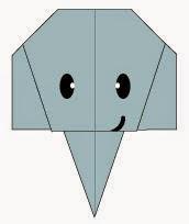 Bước 9: Vẽ mắt, vẽ miệng để hoàn thành cách gấp mặt chú voi con dễ thương này.