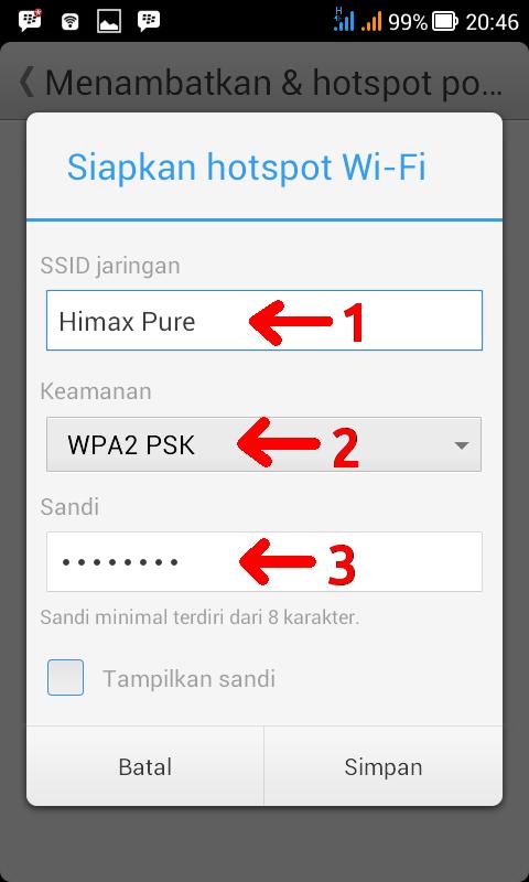 Menambatkan & Hotspot Portabel dengan password