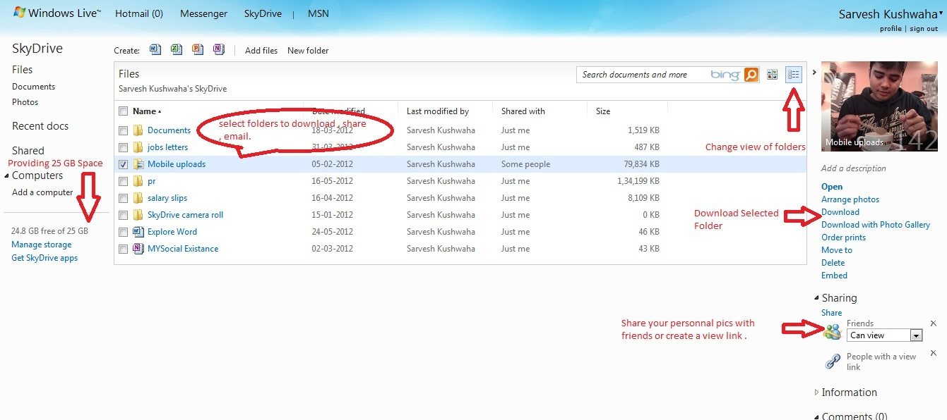 how to get a link to skydrive file