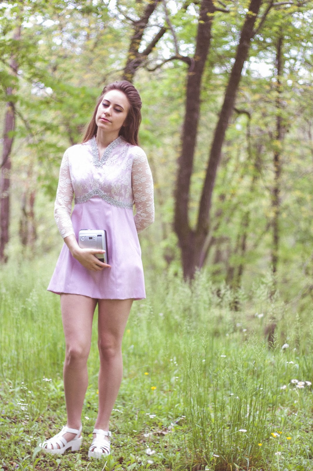 Priscilla Presley, style, mini dress, summer, outfit, micro mini, retro, 1960's, purple dress, polaroid, fashion, vintage, style blogger, film blogger, girly, lana del rey style, spring style