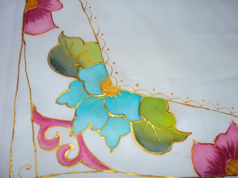 Pintura em Voil - Flor Azul