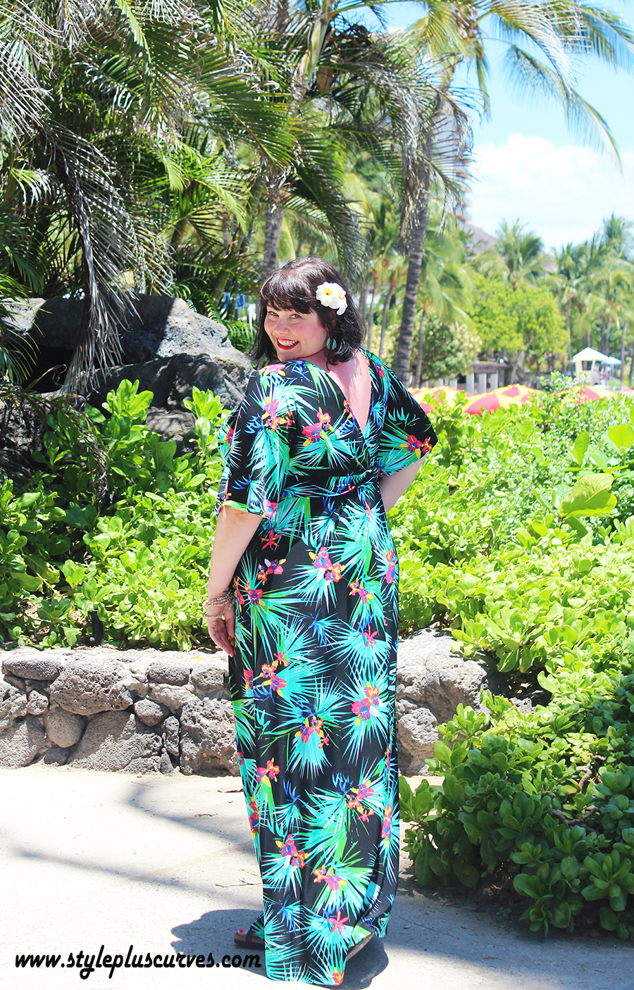 plus size vacation dress in tropical print from Kiyonna