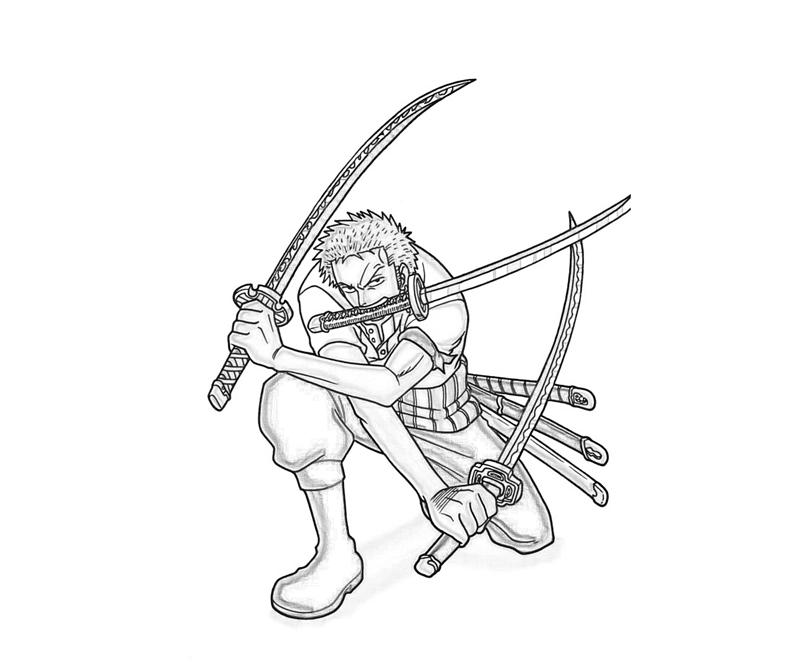 One Piece Roronoa Zoro Skill Coloring Pages