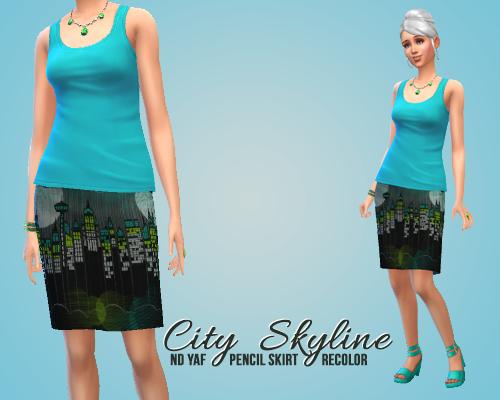 My sims city skyline pencil skirt by mysimplesimblr