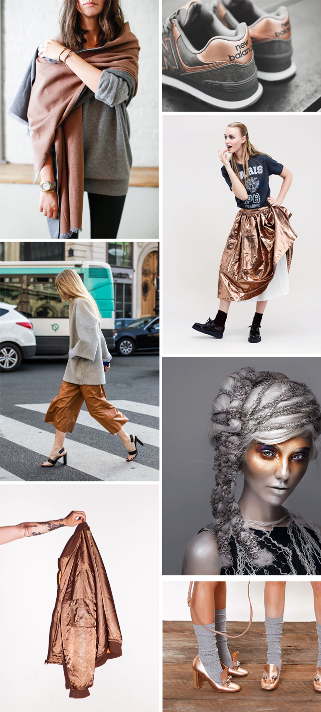 Copper, grey, inspiration board, fashion, how to wear, combination, new balance, editorial