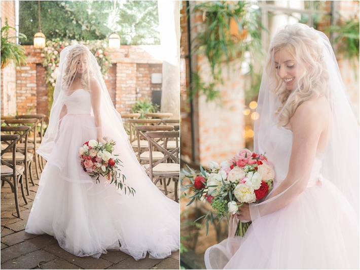 Beautiful bride in romantic gown