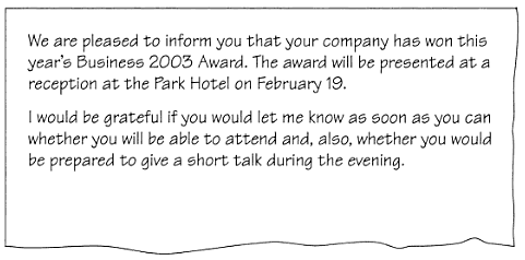 Bec preliminary writing task part two sample answer write a read part of a letter below from andrew tellis inviting you to a business reception at which your company will receive an award stopboris Image collections