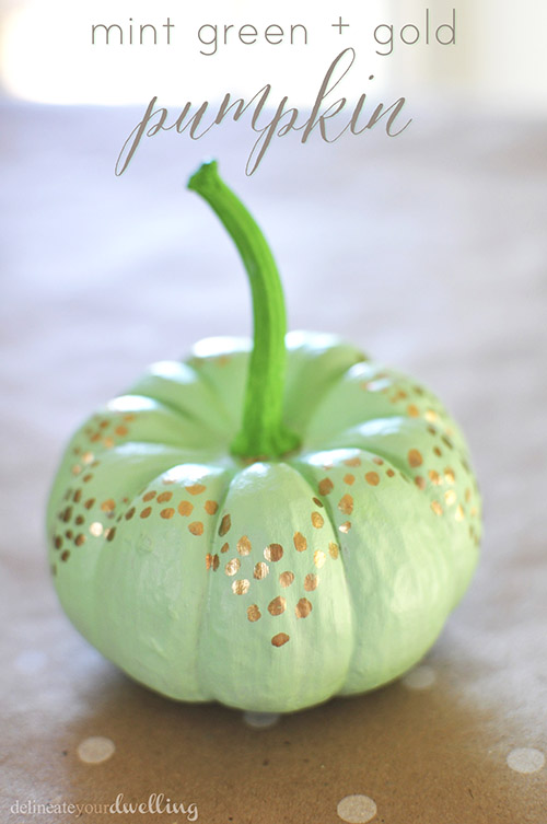 Creative Pumpkin Ideas - mint green and gold pumpkin