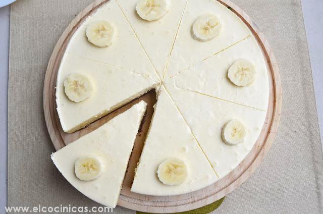 Tarta de plátano y queso