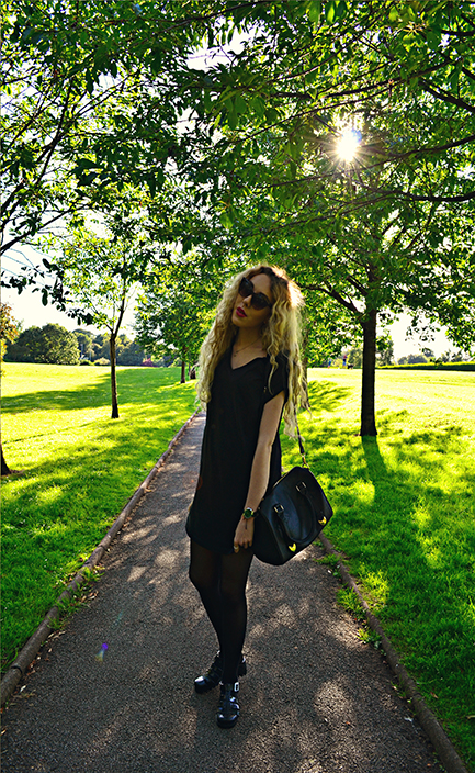 black dress, fashion blog, fashion blogger, uk style blog, north west, jelly shoes, curly hair, cat eye sunglasses, black leather bag, asks watch, neston,