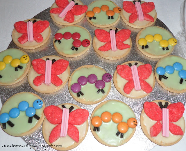 and cute little butterfly and caterpillar iced biscuits. Super quick ...