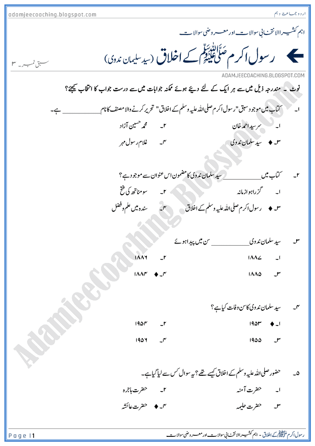rasool-s-a-w-kay-ikhlaq-mcqs-urdu-10th