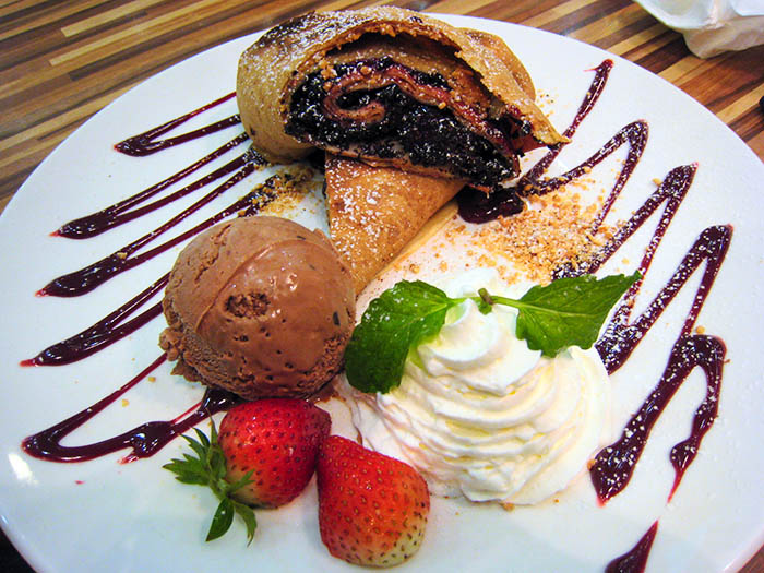 ... the Chocolate, Peanut Butter and Jam Crepe Roll with Ice Cream - $14