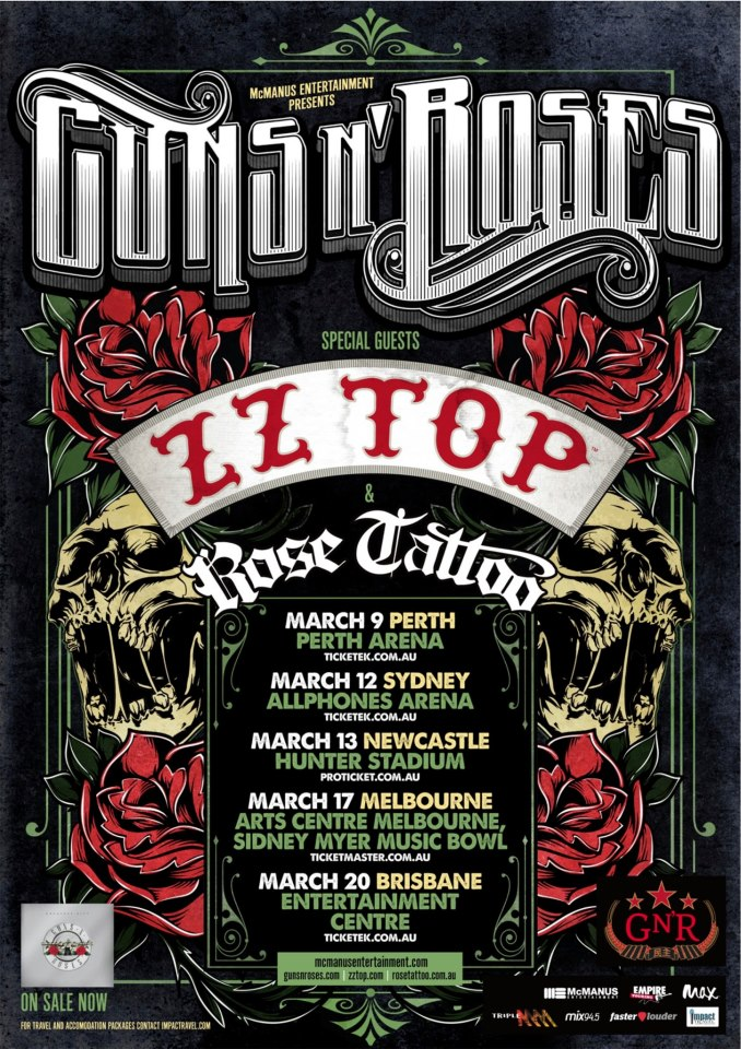 Guns n roses tour dates in Australia