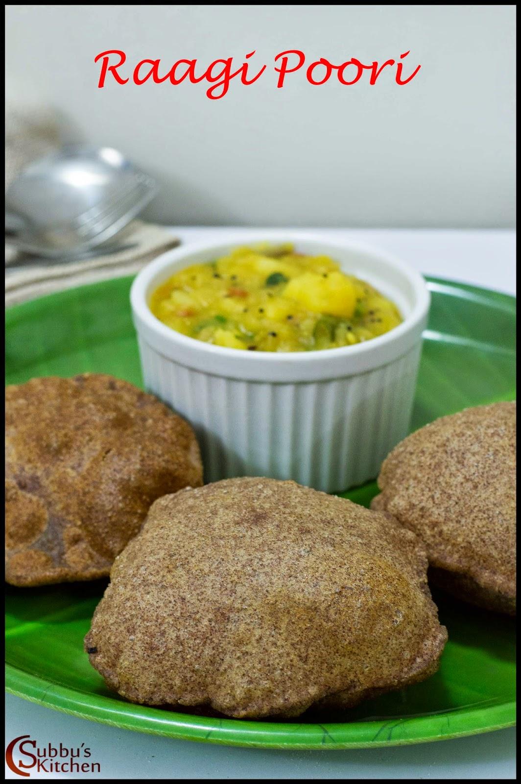 Raagi Poori Recipe | Finger Millet Poori Recipe | Kezhvaragu Poori Recipe