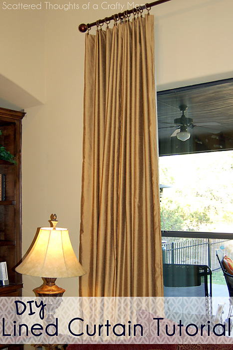 Family Room Window Treatments With A Lined Curtain Panel Tutorial Scattered Thoughts Of A
