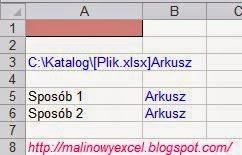 Nazwa arkusza wyświetlana w komórce za pomocą formuły - wynik