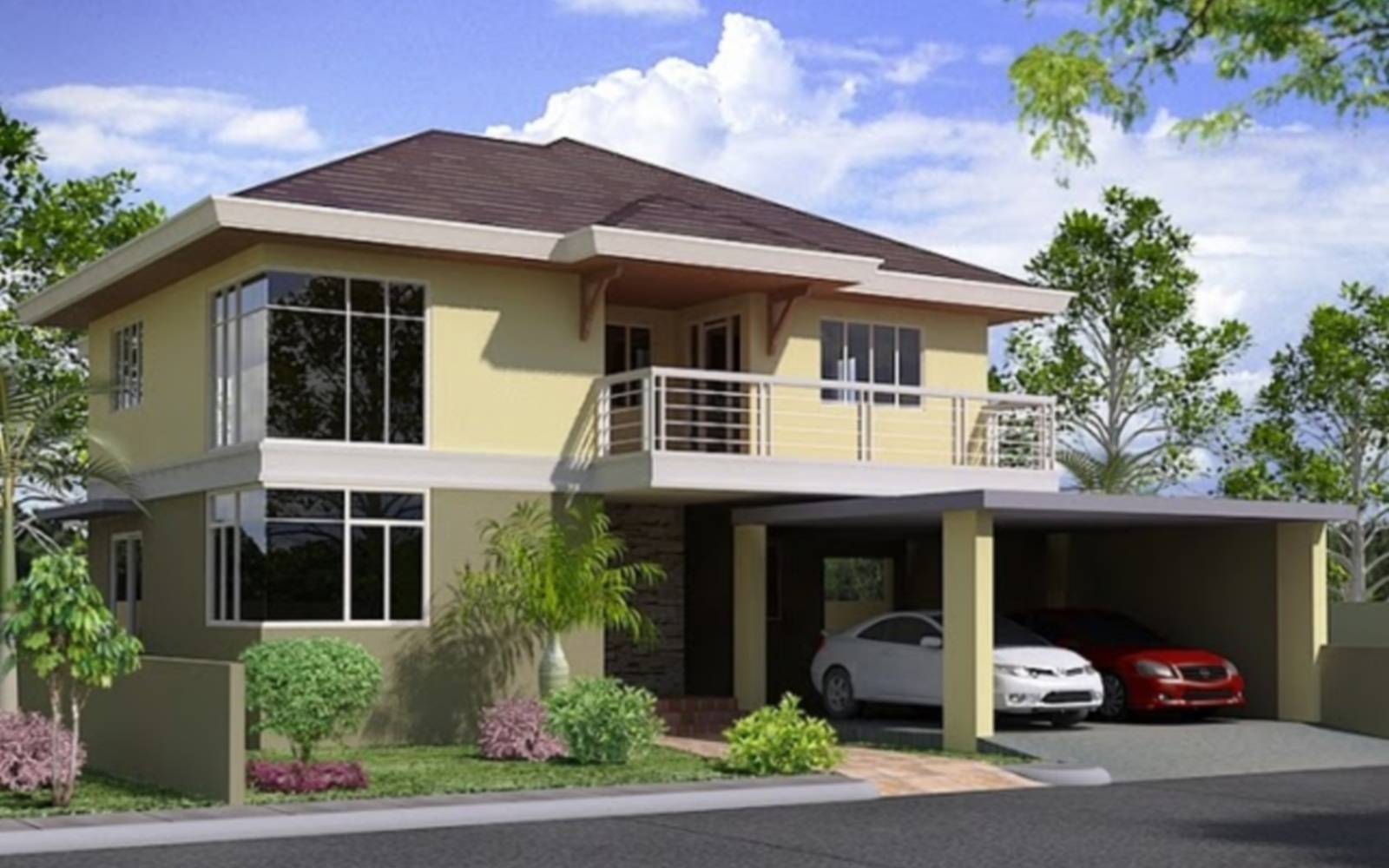 Kk two storey house plan philippines photoshop hd for Double story house design