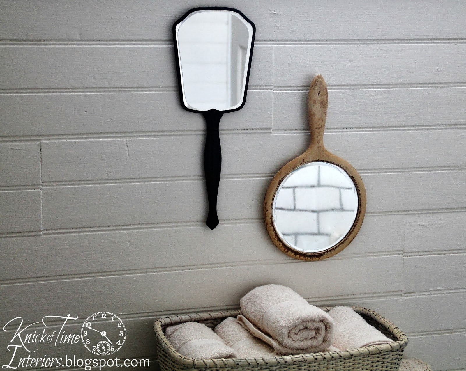 Antique-Hand-Mirrors-Farmhouse-Bathroom-Remodel-Knick of Time