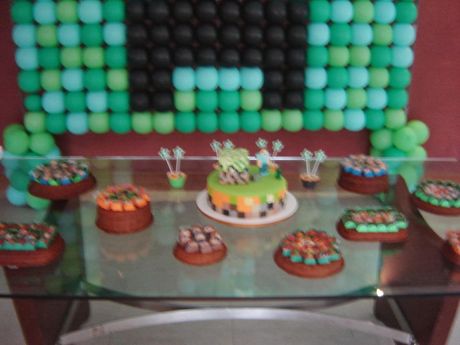 Priscila Arte em balões: Decoração Minecraft