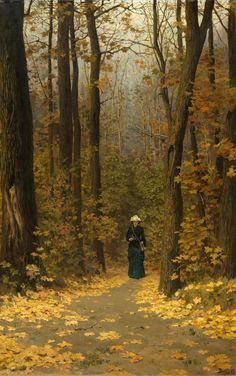 """Woman Walking on a Forest Trail"""