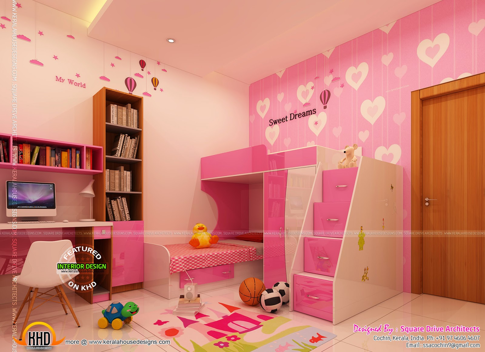 Fair 60 magenta kids room interior decorating inspiration for Room interior design for teenagers