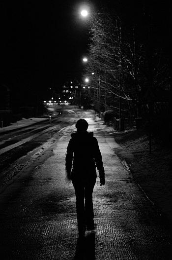 girl walking in night