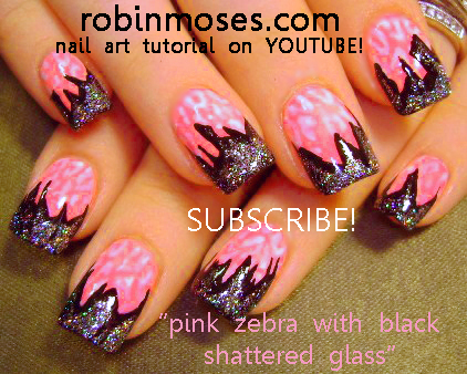 Pink And Black Zebra And Foil Nail Art Design Nicki Minaj Nail Art