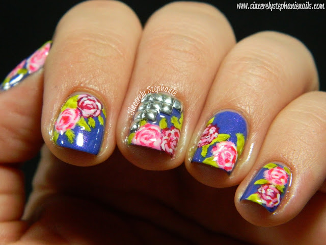 Studded Floral Nails