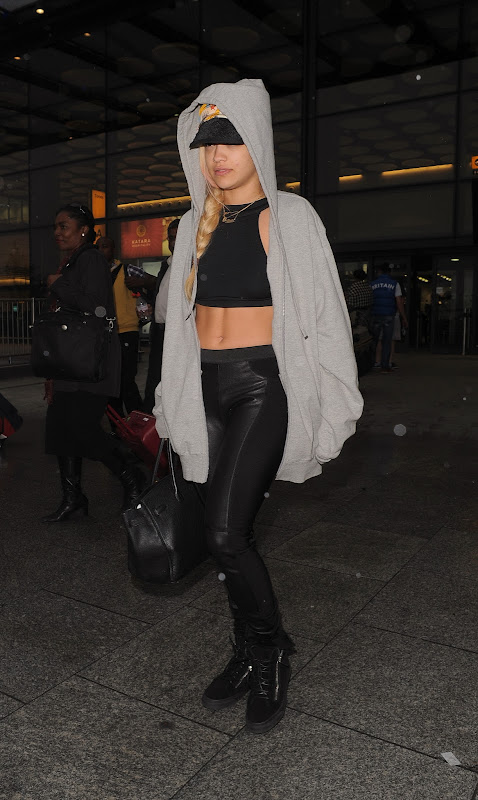 Rita Ora at Heathrow Airport
