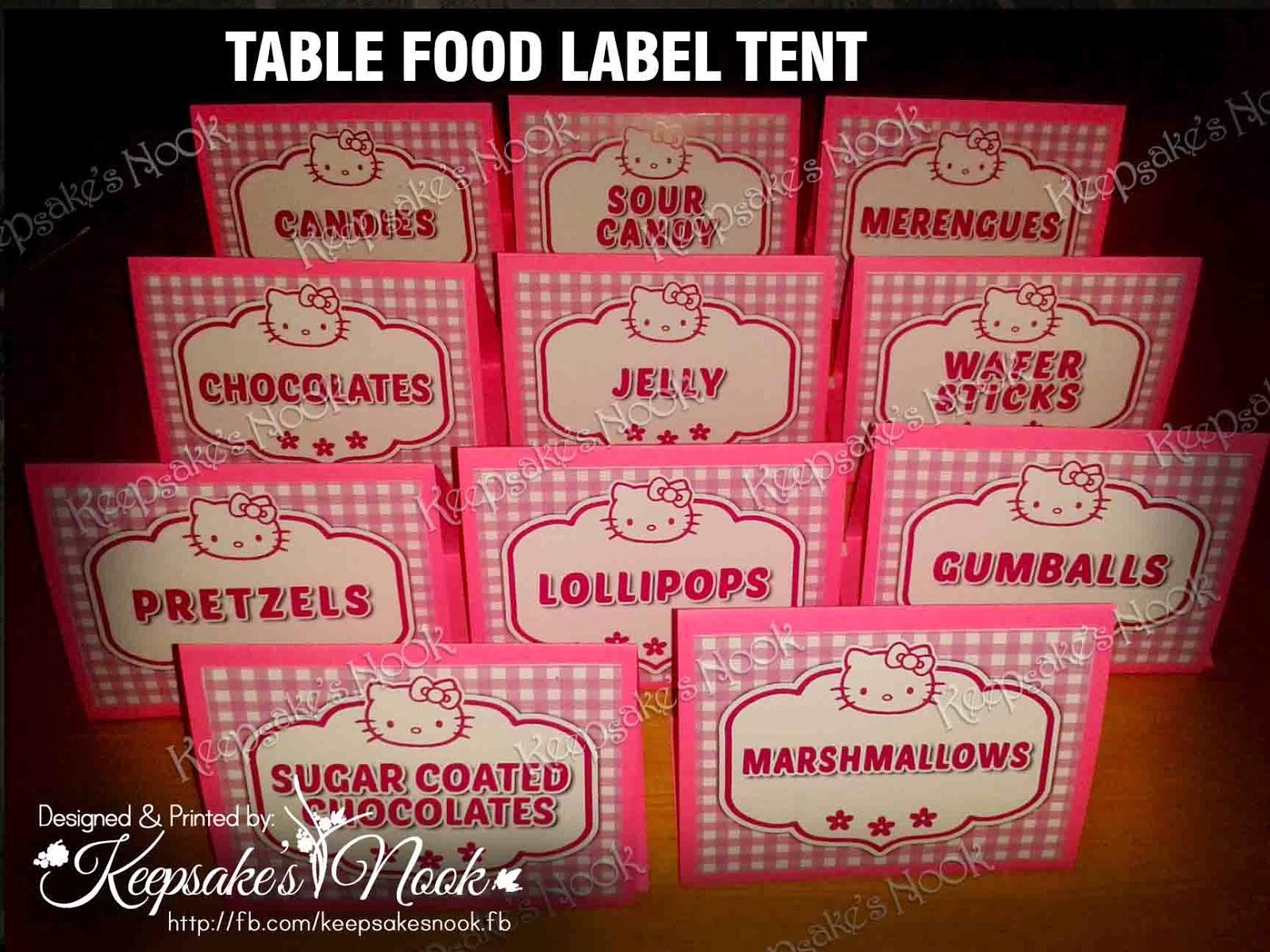 keepsak es nook hello kitty food label tent table topper
