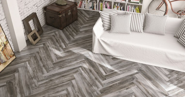 gray-stained herringbone floors