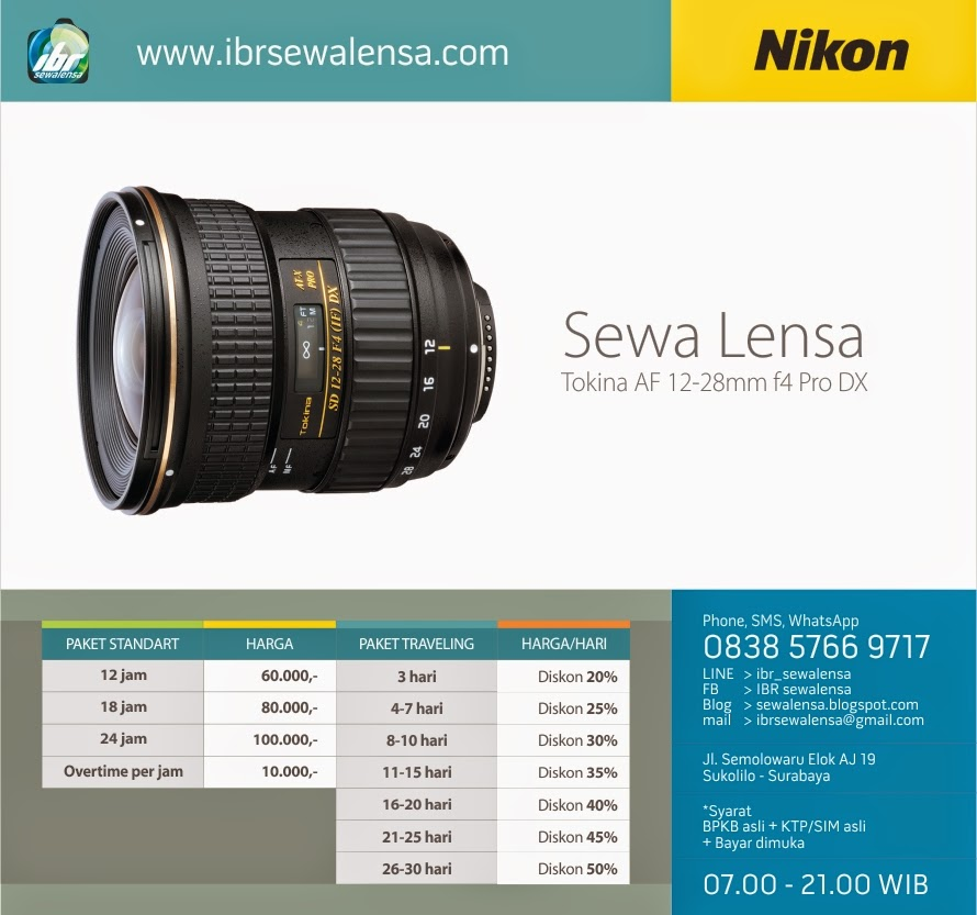 Harga Sewa Lensa Tokina AF 12-28mm f4 for Nikon