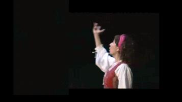 Mª Ángeles Díaz representando Noche de Brujas,  de Federico González Frías