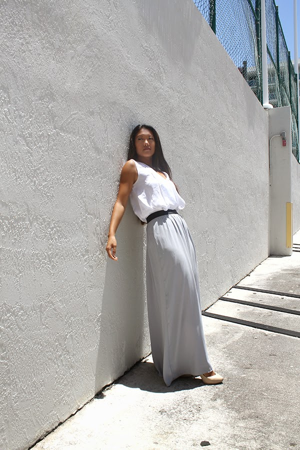 style by lynsee, fashion blogger, summer fashion trends, summer fashion 2014, 2014 summer fashion, beauty blogger, bcbgmaxazria, how to wear a maxi skirt, how to style a maxi skirt, what to wear with a maxi skirt, what to wear with a white top, white blouse, express skirt, express fashion, popsugar, shopstyle, popsugar fashion, popsugar blogger, outfit of the day, nude pumps, aldo nude heels, gray maxi skirt, white flowy top