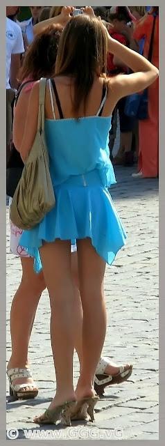 Girl wearing blue summer dress
