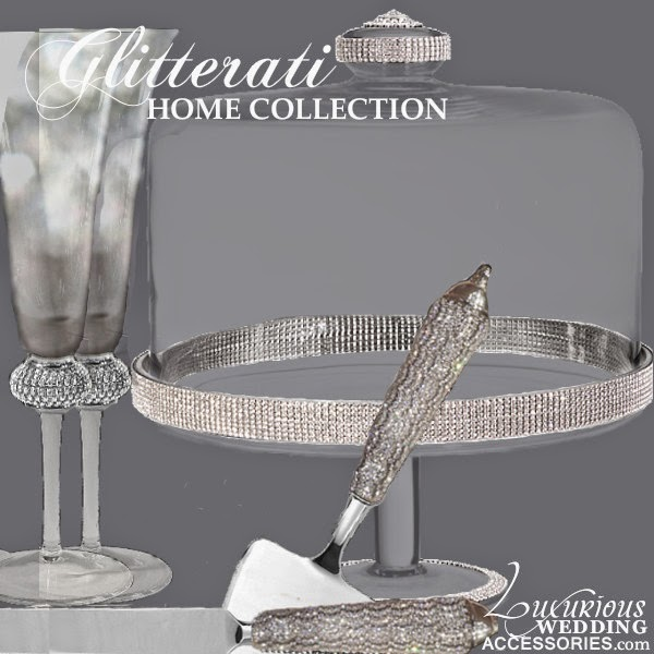 Swarovski Crystal Wedding Cake Stand, Flutes, Cake Knife & Server