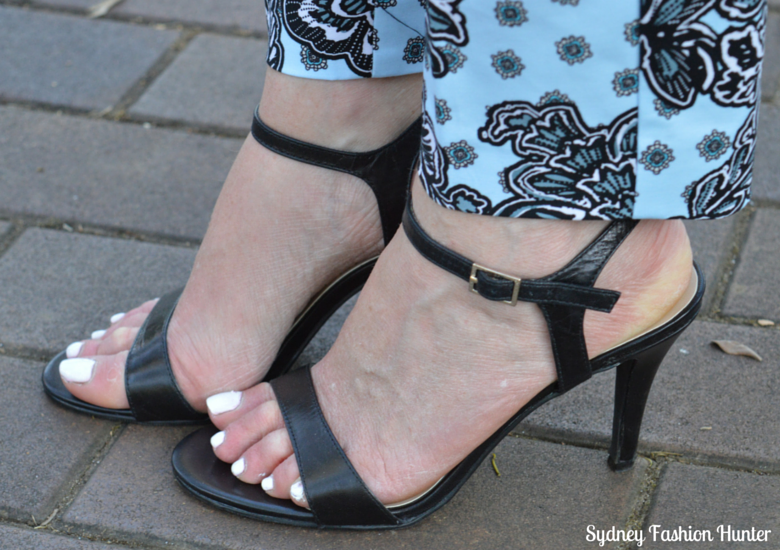 Black Sandals, Printed Pants