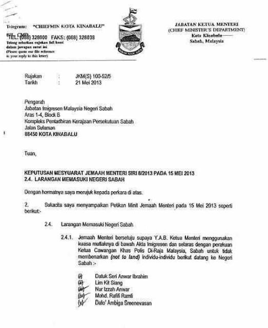 Surat Rasmi Kepada Ketua Menteri Sarawak Rasmi X