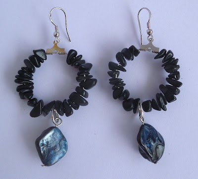 Handmade black stone and shell hoop earrings