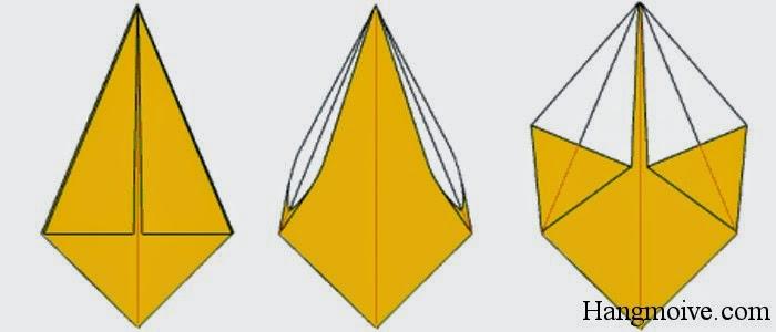 Bước 8: Xoay ngược hình quả trám lại. Ta mở 2 cạnh tam giác của quả trám theo chiều từ trong ra ngoài ta được một hình như hình thứ 3 bên dưới.
