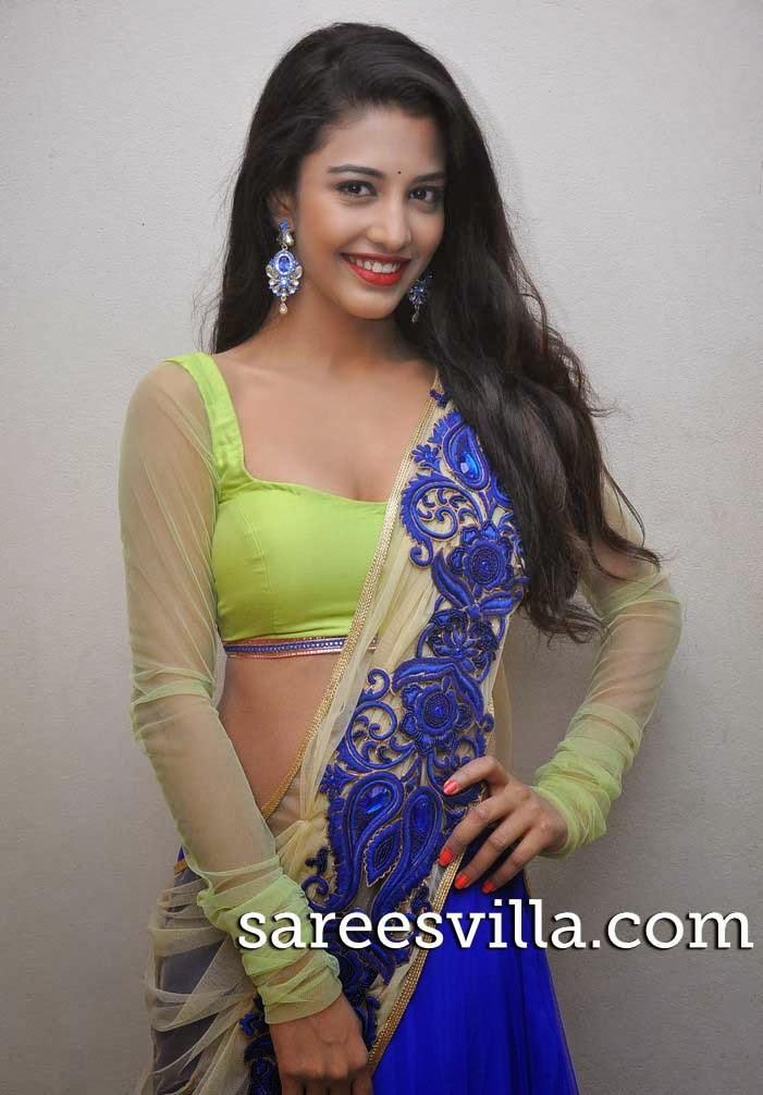 Dhaksha In Blue Half Saree