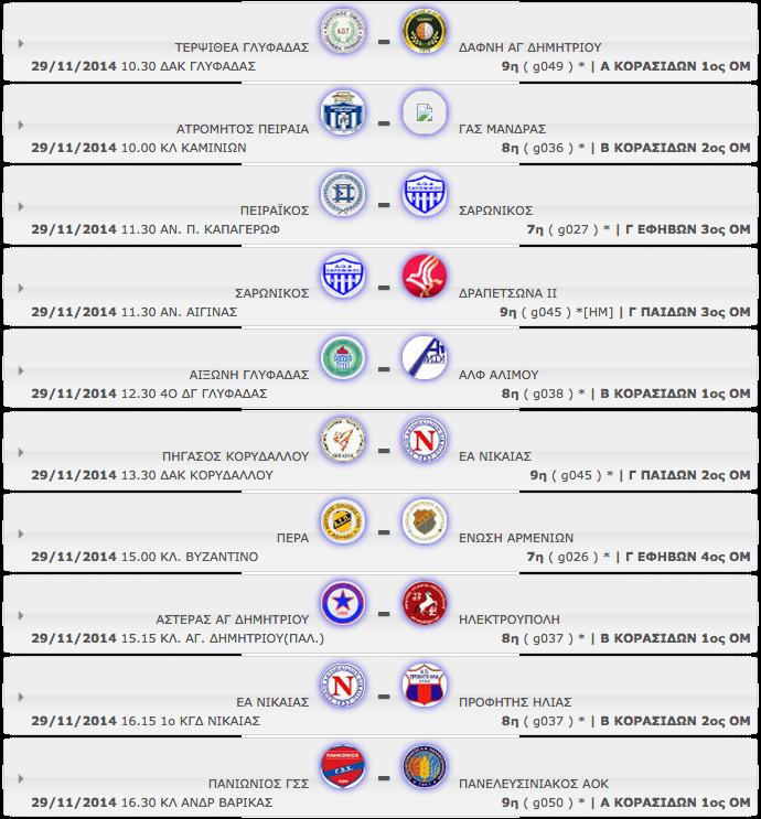 ΣΑΒΒΑΤΟ 29.11.2014 | Το πρόγραμμα αγώνων της ημέρας όλων των κατηγοριών - ομίλων (με βάση την ώρα έναρξης)  καθώς και των αγώνων ΜΙΝΙ, ΠΑΜΠΑΙΔΩΝ)