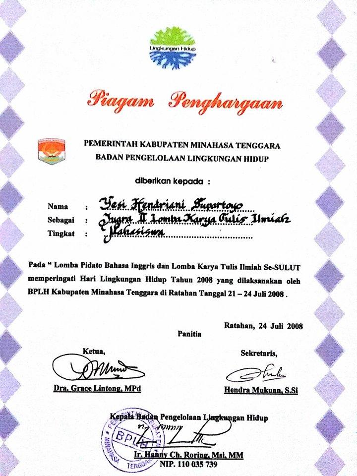2nd Winner BPLH Kabupaten Minahasa Tenggara, Sulawesi Utara
