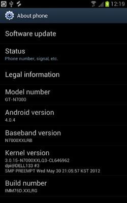 Aggiornamento firmare del Samsung Galaxy Note versione 4.0.4 di Android