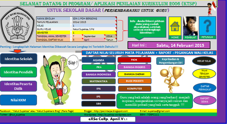 Aplikasi Penilaian dan Raport 2015 Kurikulum 2006 (KTSP) Sekolah Dasar (SD)