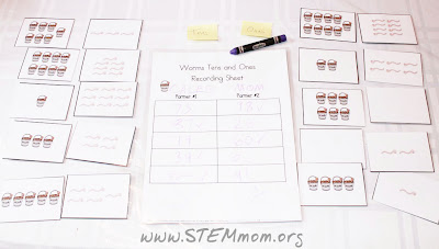 Tens and ones wormy worksheet by No Doubt learning @ STEMmom.org